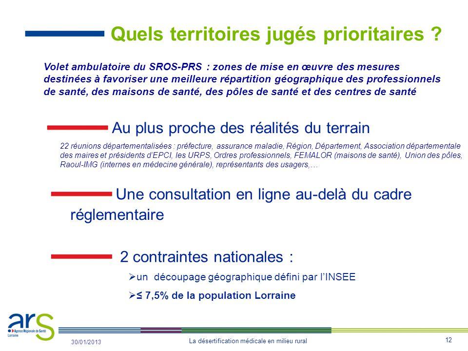 12 La désertification médicale en milieu rural 31/10/2012 30/01/2013 Quels territoires jugés prioritaires .