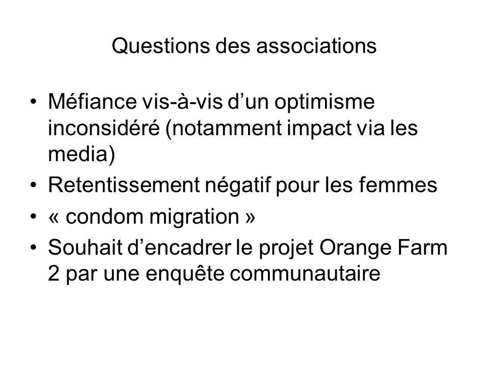 Questions des associations Méfiance vis-à-vis d'un optimisme inconsidéré (notamment impact via les media) Retentissement négatif pour les femmes « condom migration » Souhait d'encadrer le projet Orange Farm 2 par une enquête communautaire