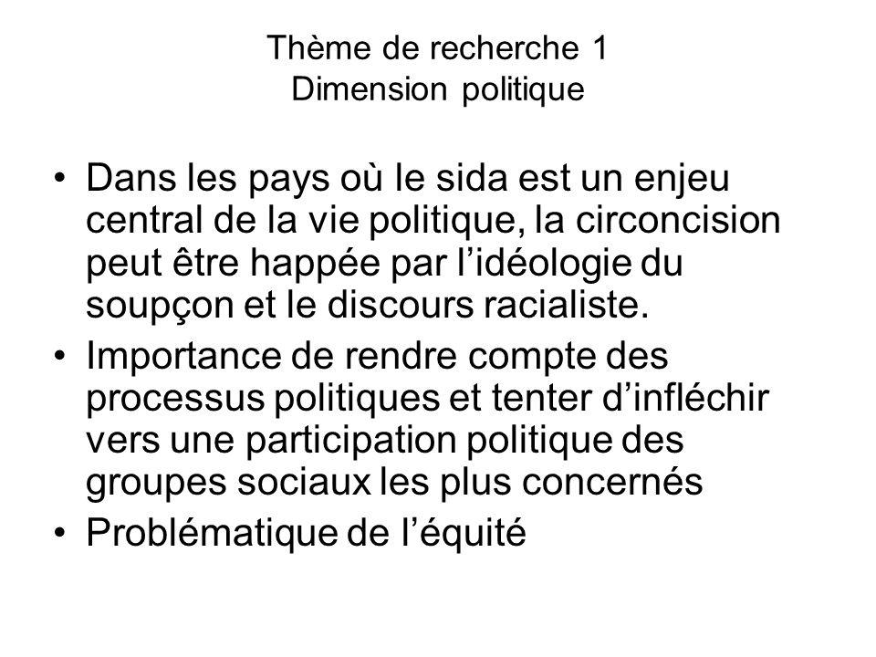 Thème de recherche 1 Dimension politique Dans les pays où le sida est un enjeu central de la vie politique, la circoncision peut être happée par l'idéologie du soupçon et le discours racialiste.