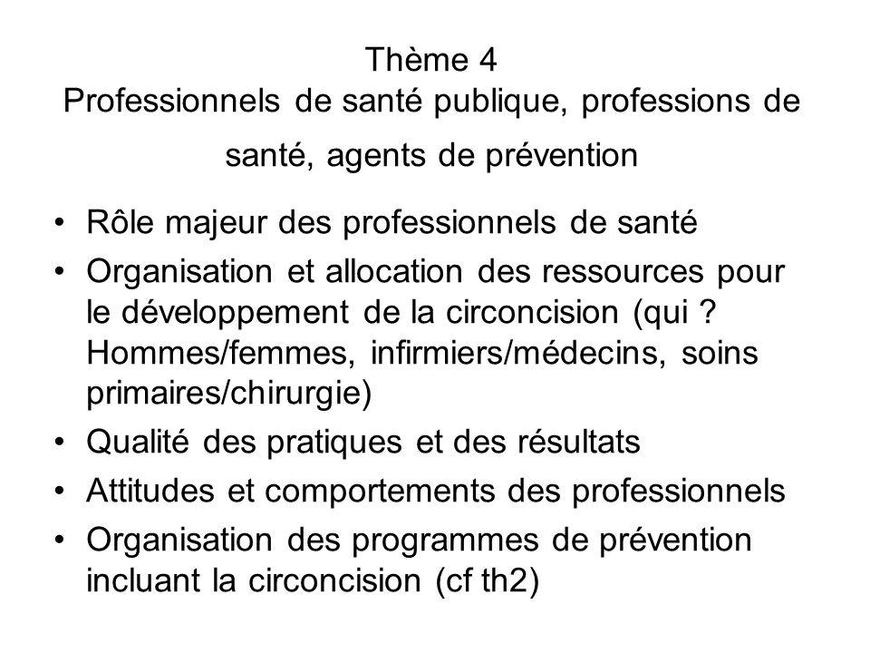 Thème 4 Professionnels de santé publique, professions de santé, agents de prévention Rôle majeur des professionnels de santé Organisation et allocation des ressources pour le développement de la circoncision (qui .