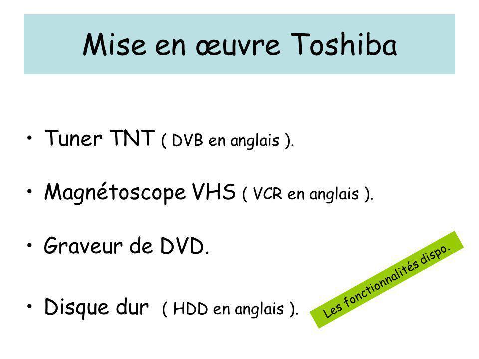 Mise en œuvre Toshiba Tuner TNT ( DVB en anglais ). Magnétoscope VHS ( VCR en anglais ). Graveur de DVD. Disque dur ( HDD en anglais ). Les fonctionna