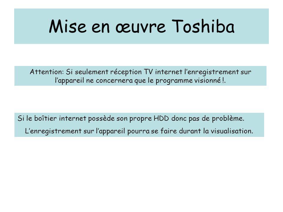 Mise en œuvre Toshiba Attention: Si seulement réception TV internet l'enregistrement sur l'appareil ne concernera que le programme visionné !. Si le b