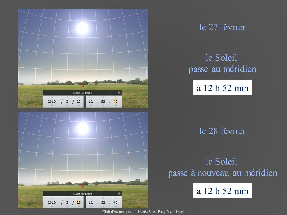 Club d'Astronomie - Lycée Saint Exupéry - Lyon le Soleil passe au méridien le 28 février à 12 h 52 min le 27 février le Soleil passe à nouveau au méri