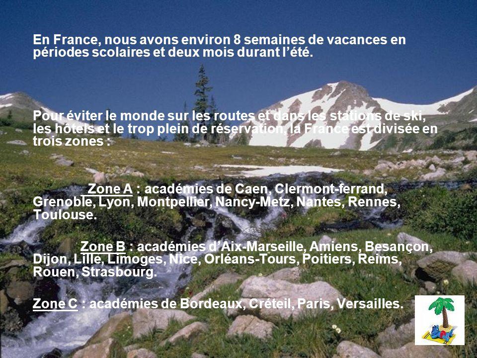 En France, nous avons environ 8 semaines de vacances en périodes scolaires et deux mois durant l'été.