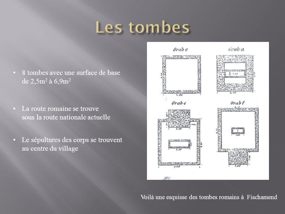8 tombes avec une surface de base de 2,5m 2 à 6,9m 2 La route romaine se trouve sous la route nationale actuelle Le sépultures des corps se trouvent au centre du village Voilà une esquisse des tombes romains à Fischamend