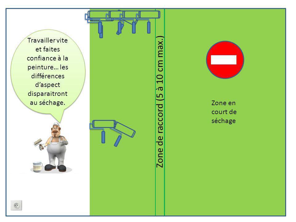 Zone de raccord (5 à 10 cm max.) Zone en court de séchage Travailler vite et faites confiance à la peinture… les différences d'aspect disparaitront au séchage.