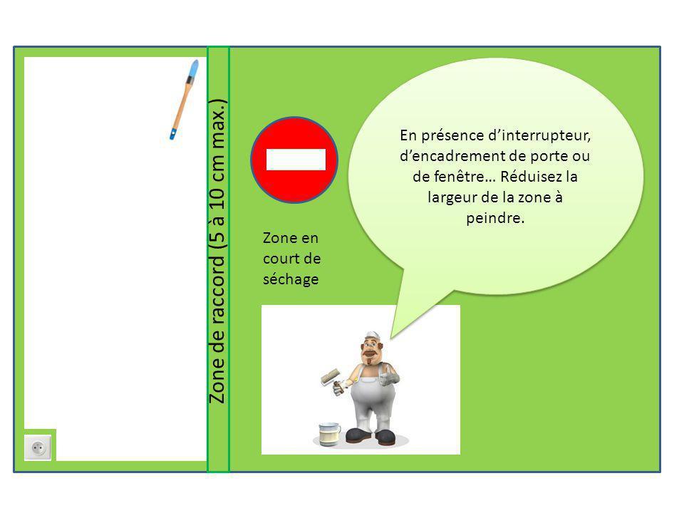 Zone de raccord (5 à 10 cm max.) Zone en court de séchage En présence d'interrupteur, d'encadrement de porte ou de fenêtre… Réduisez la largeur de la zone à peindre.