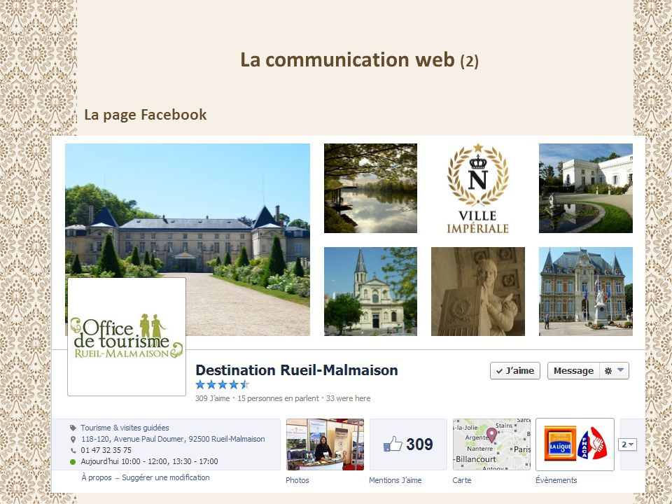 La communication web (2) La page Facebook