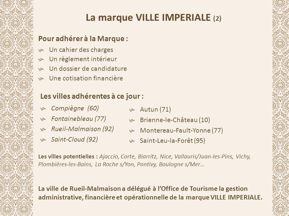 La marque VILLE IMPERIALE (2) Pour adhérer à la Marque :  Un cahier des charges  Un règlement intérieur  Un dossier de candidature  Une cotisation