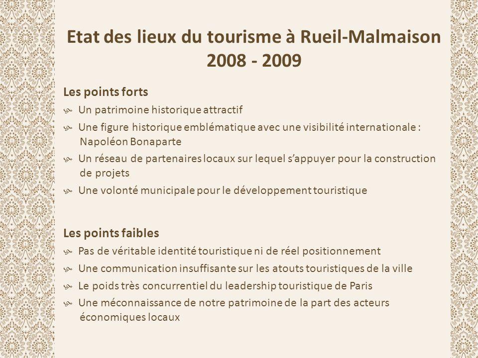 Etat des lieux du tourisme à Rueil-Malmaison 2008 - 2009 Les points forts  Un patrimoine historique attractif  Une figure historique emblématique av
