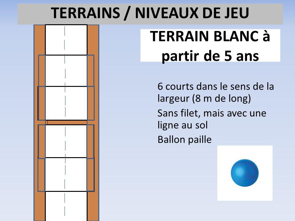 TERRAIN BLANC à partir de 5 ans 6 courts dans le sens de la largeur (8 m de long) Sans filet, mais avec une ligne au sol Ballon paille TERRAINS / NIVE