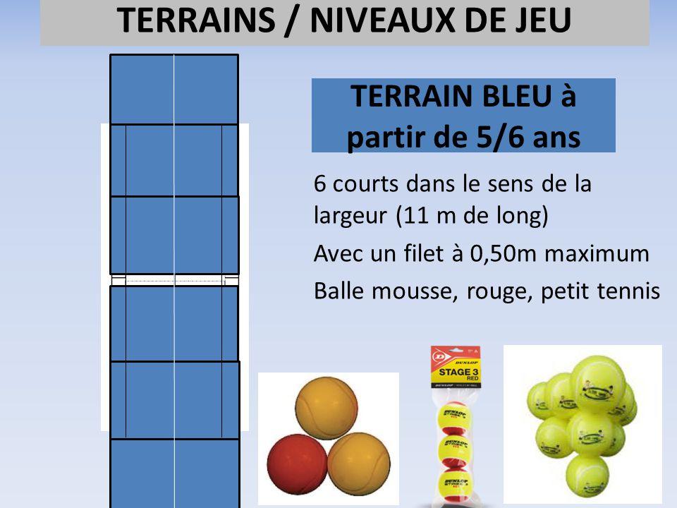 TERRAIN BLEU à partir de 5/6 ans 6 courts dans le sens de la largeur (11 m de long) Avec un filet à 0,50m maximum Balle mousse, rouge, petit tennis TE