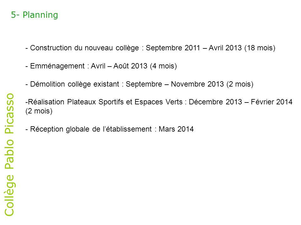 Collège Pablo Picasso 5- Planning - Construction du nouveau collège : Septembre 2011 – Avril 2013 (18 mois) - Emménagement : Avril – Août 2013 (4 mois