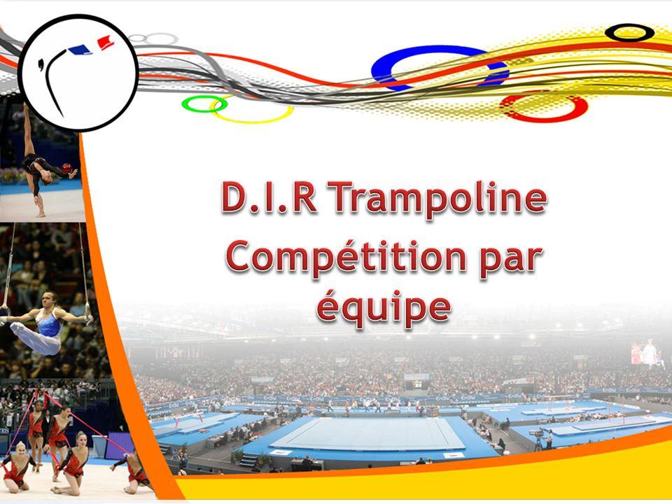 Il existe aujourd'hui plusieurs compétitions individuelles : - La filière FIR – Inv (région- zone – Festigym) -La filière Fédérale – Ind /Syn (sélective 1- zone -½ finales– CDF) -La filière Nationale – Ind /Syn (zone -½ finales - coupe NA- CDF) Il existe 2 compétitions par équipes : -Les DNs – Equipe de niveau Féd/Nat (compétition unique) -Les intercomités – Equipes (compétition unique en région) =>Il n'existe pas de compétition par équipe de niv zone Création d'une filière DIR Equipe (département- région- zone) Constat