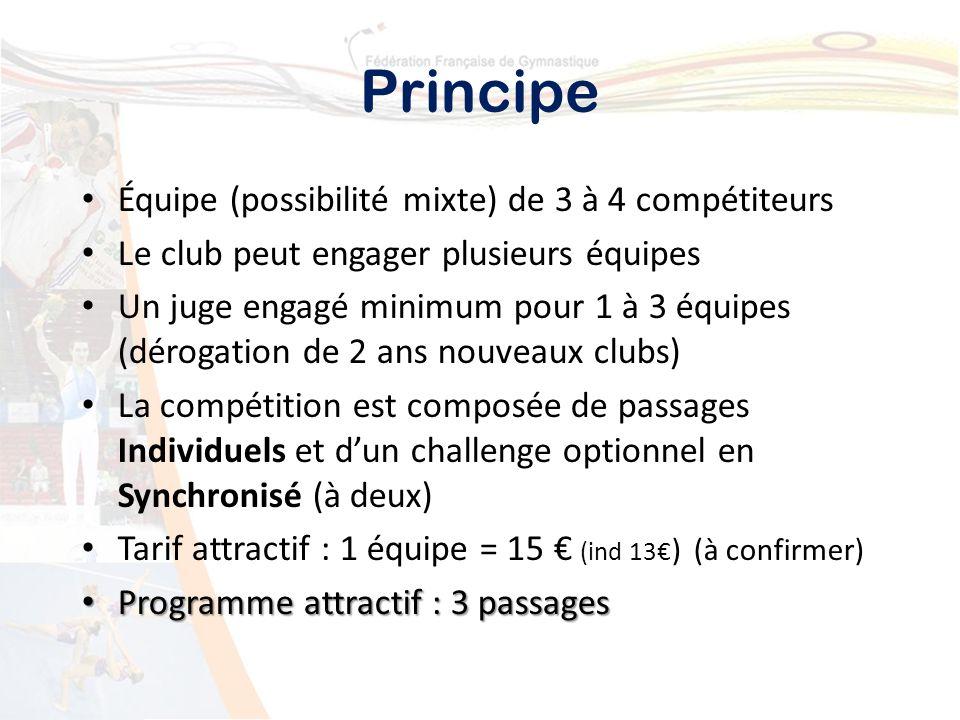 Principe Équipe (possibilité mixte) de 3 à 4 compétiteurs Le club peut engager plusieurs équipes Un juge engagé minimum pour 1 à 3 équipes (dérogation