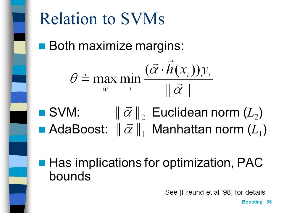 Boosting 35 Relation to SVMs (cont.)