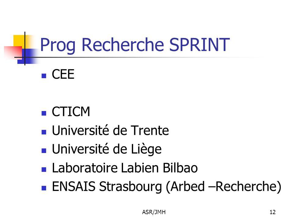 ASR/JMH12 Prog Recherche SPRINT CEE CTICM Université de Trente Université de Liège Laboratoire Labien Bilbao ENSAIS Strasbourg (Arbed –Recherche)