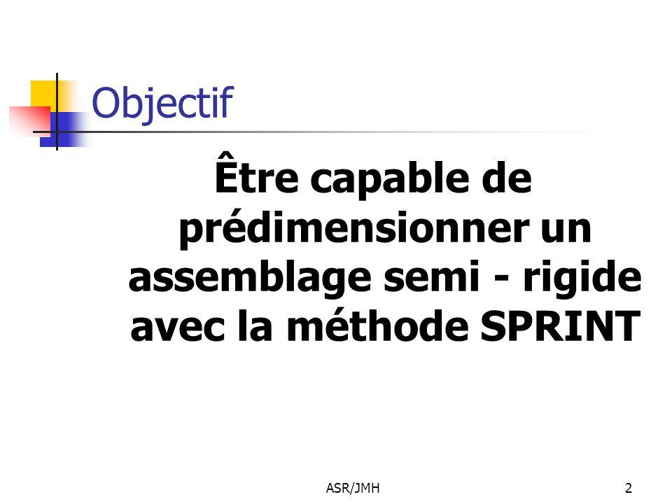 ASR/JMH2 Objectif Être capable de prédimensionner un assemblage semi - rigide avec la méthode SPRINT