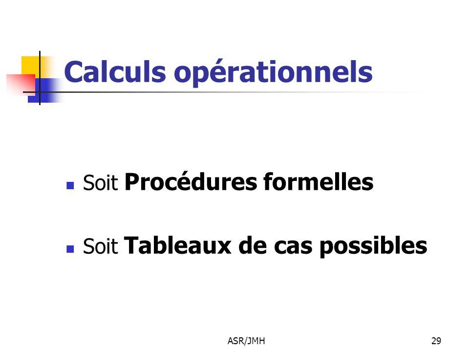 ASR/JMH29 Calculs opérationnels Soit Procédures formelles Soit Tableaux de cas possibles
