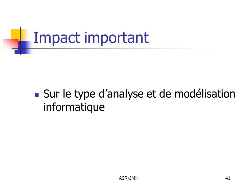 ASR/JMH41 Impact important Sur le type d'analyse et de modélisation informatique