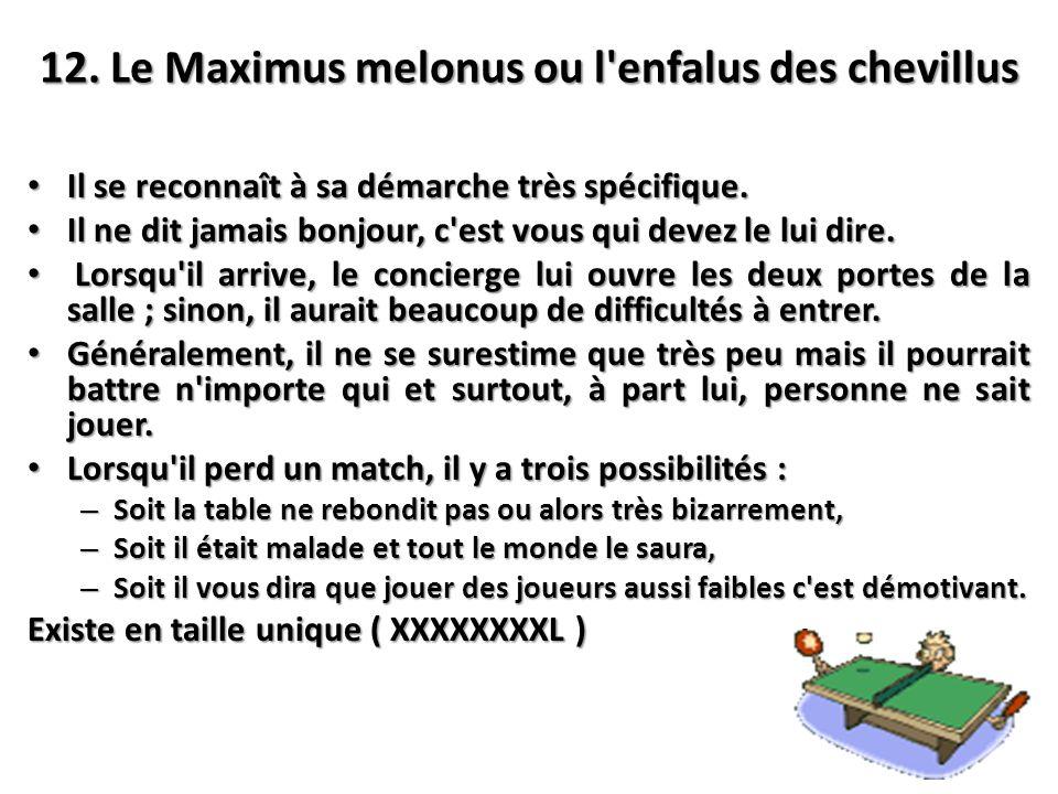 12. Le Maximus melonus ou l'enfalus des chevillus Il se reconnaît à sa démarche très spécifique. Il se reconnaît à sa démarche très spécifique. Il ne
