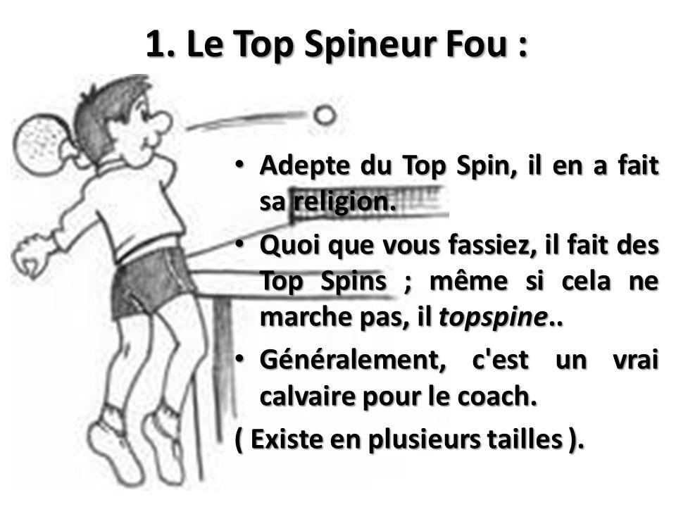 1. Le Top Spineur Fou : Adepte du Top Spin, il en a fait sa religion. Adepte du Top Spin, il en a fait sa religion. Quoi que vous fassiez, il fait des