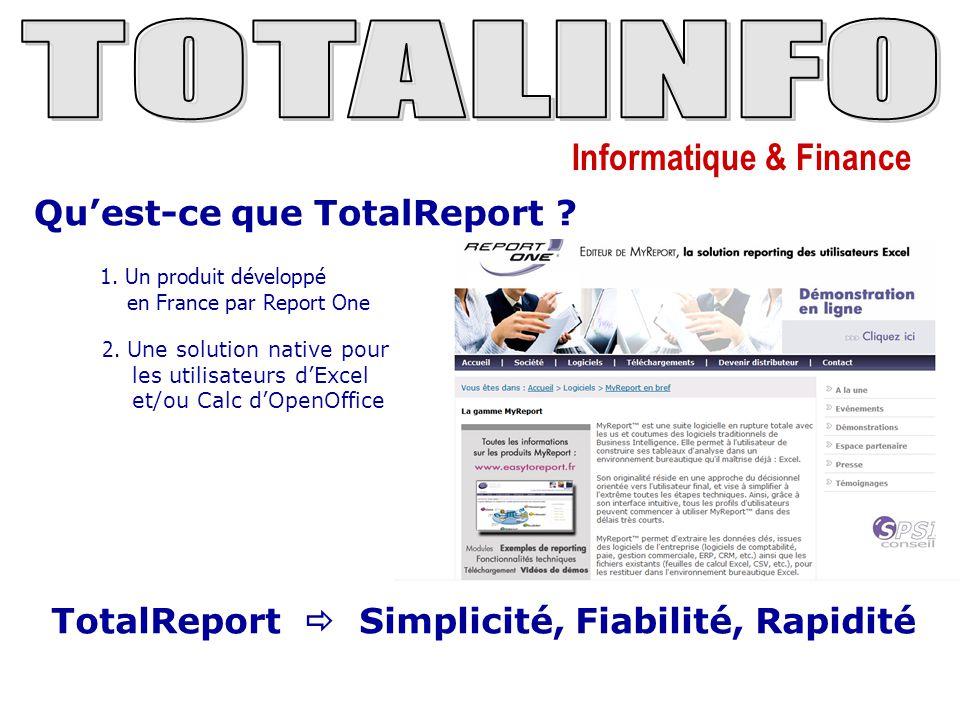 Informatique & Finance Qu'est-ce que TotalReport ? 1. Un produit développé en France par Report One 2. Une solution native pour les utilisateurs d'Exc