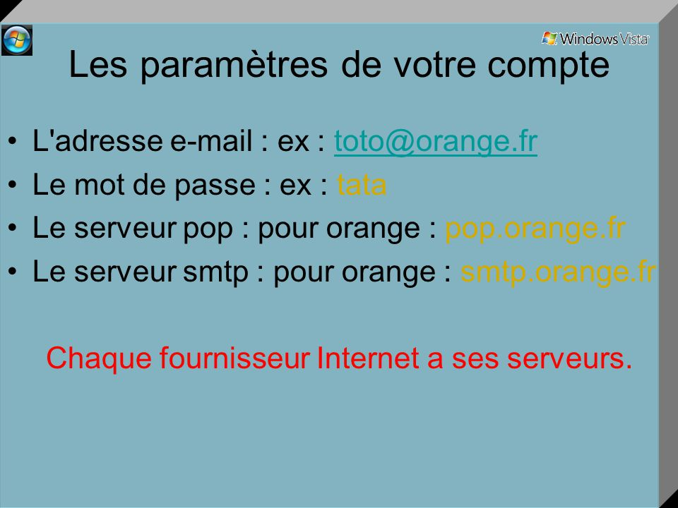 Les paramètres de votre compte L adresse e-mail : ex : toto@orange.frtoto@orange.fr Le mot de passe : ex : tata Le serveur pop : pour orange : pop.orange.fr Le serveur smtp : pour orange : smtp.orange.fr Chaque fournisseur Internet a ses serveurs.