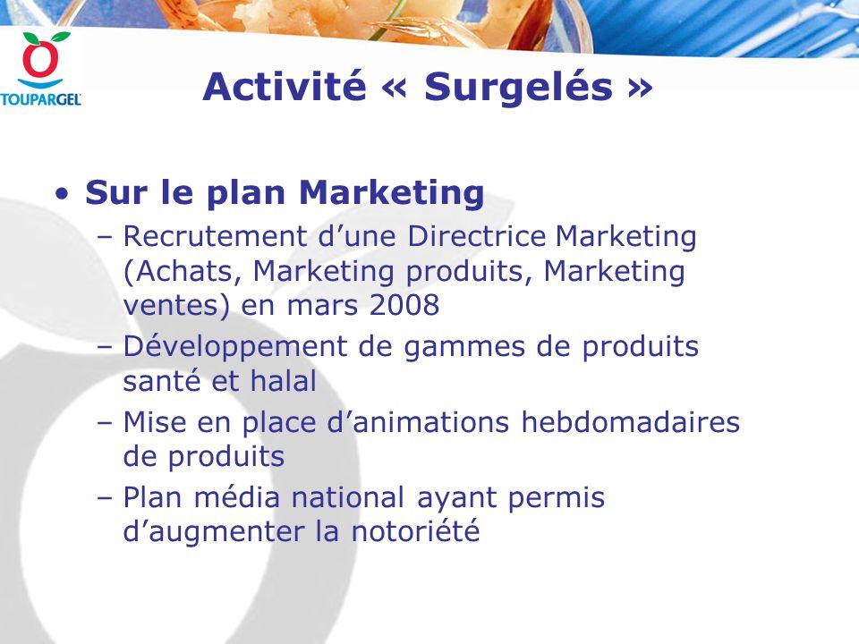 Activité « Surgelés » Sur le plan Marketing –Recrutement d'une Directrice Marketing (Achats, Marketing produits, Marketing ventes) en mars 2008 –Dével