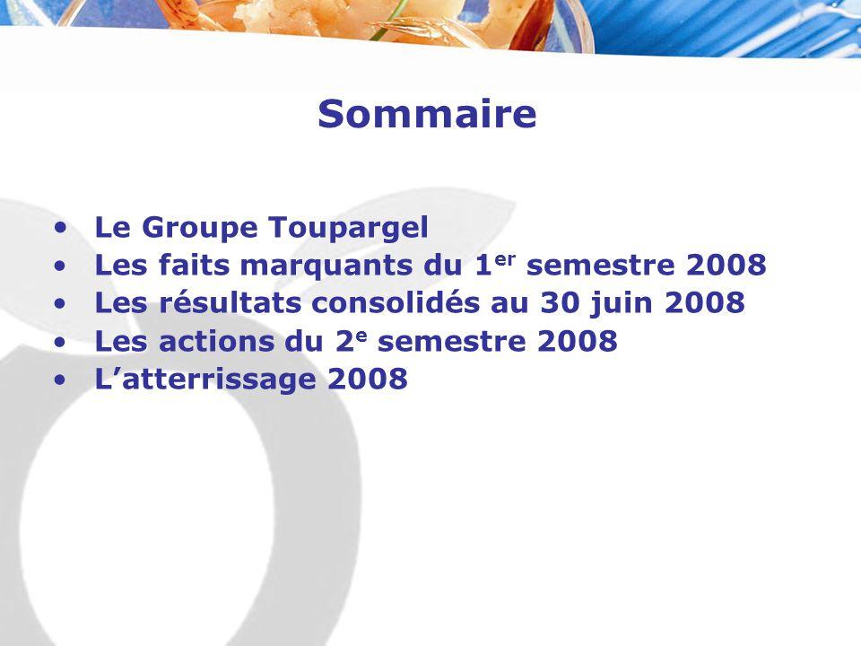 Sommaire Le Groupe Toupargel Les faits marquants du 1 er semestre 2008 Les résultats consolidés au 30 juin 2008 Les actions du 2 e semestre 2008 L'atterrissage 2008