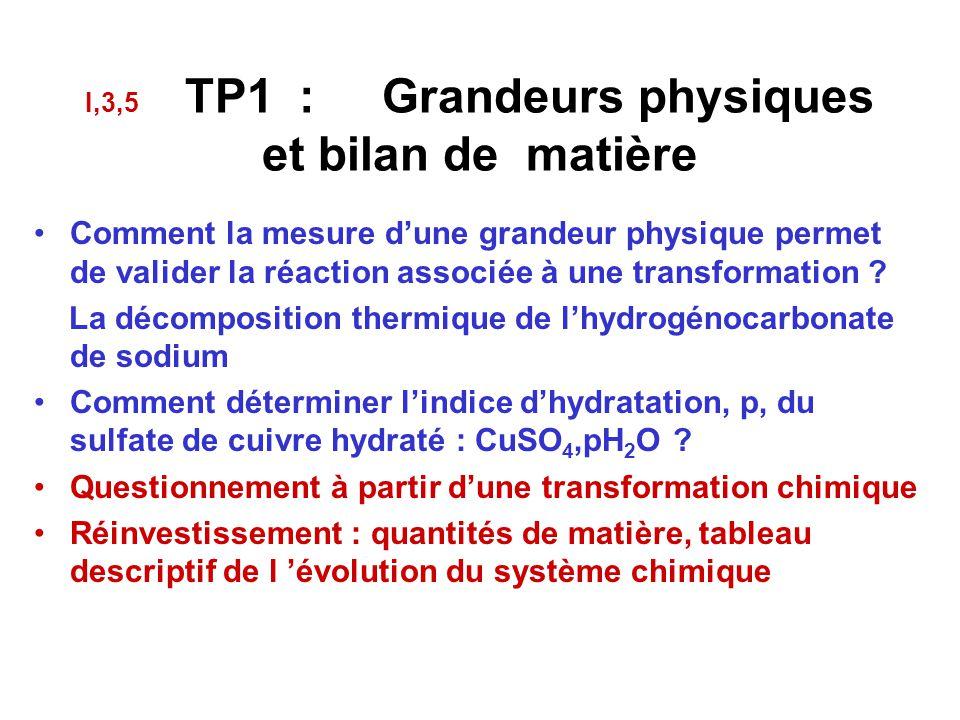 I,3,5 TP1 : Grandeurs physiques et bilan de matière Comment la mesure d'une grandeur physique permet de valider la réaction associée à une transformation .