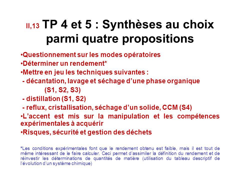 II,13 TP 4 et 5 : Synthèses au choix parmi quatre propositions (S1) Transformation d'un alcool en dérivé halogéné : synthèse du 2-chloro-2-méthylpropa