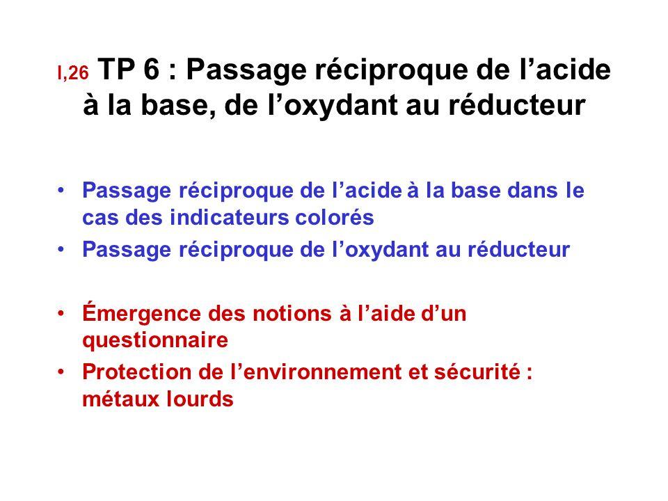 I,26 TP 6 : Passage réciproque de l'acide à la base, de l'oxydant au réducteur Passage réciproque de l'acide à la base dans le cas des indicateurs colorés Passage réciproque de l'oxydant au réducteur Émergence des notions à l'aide d'un questionnaire Protection de l'environnement et sécurité : métaux lourds