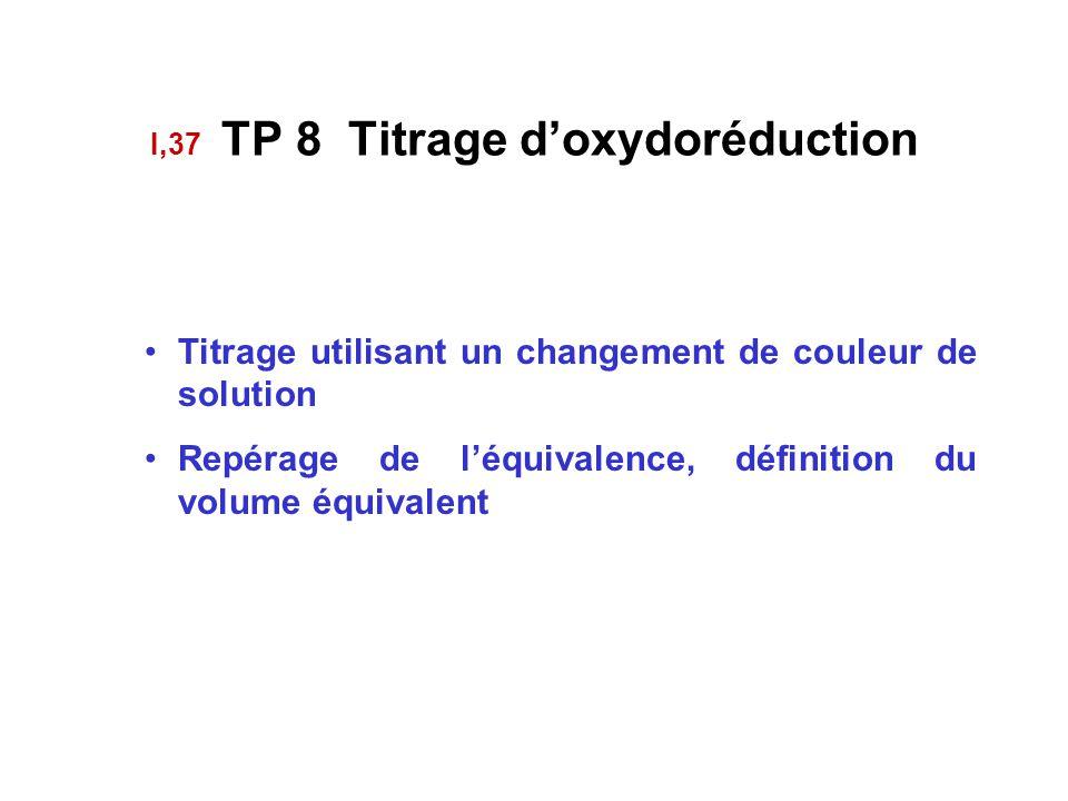 I,37 TP 8 Titrage d'oxydoréduction Titrage utilisant un changement de couleur de solution Repérage de l'équivalence, définition du volume équivalent