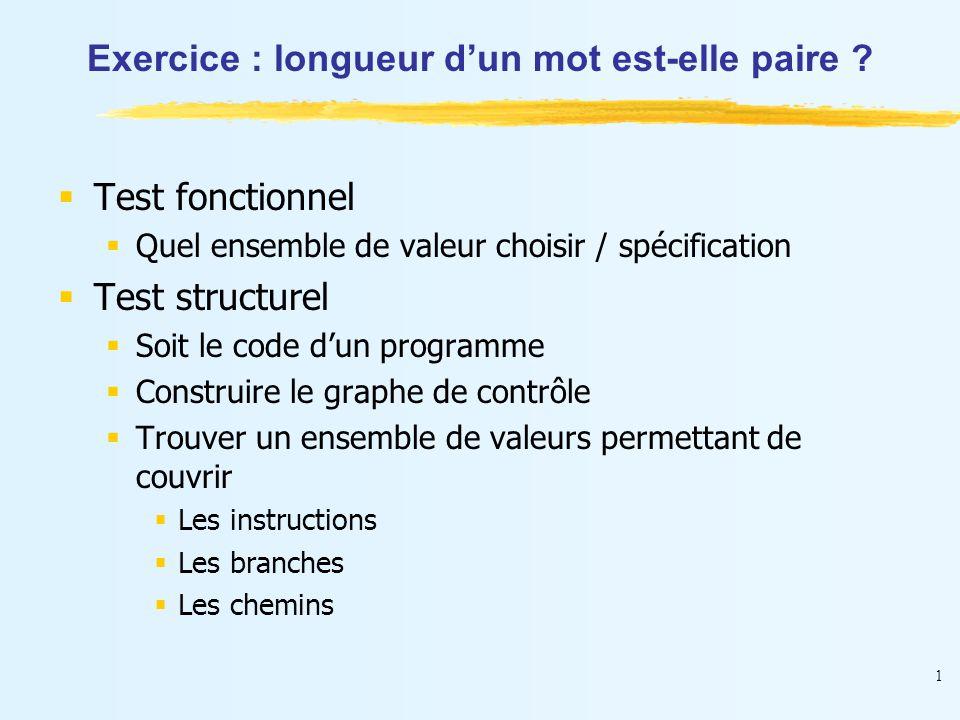 1 Exercice : longueur d'un mot est-elle paire ?  Test fonctionnel  Quel ensemble de valeur choisir / spécification  Test structurel  Soit le code