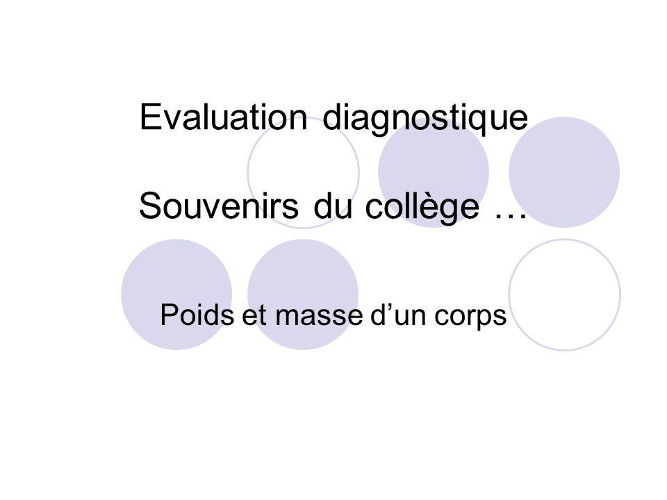Evaluation diagnostique Souvenirs du collège … Poids et masse d'un corps