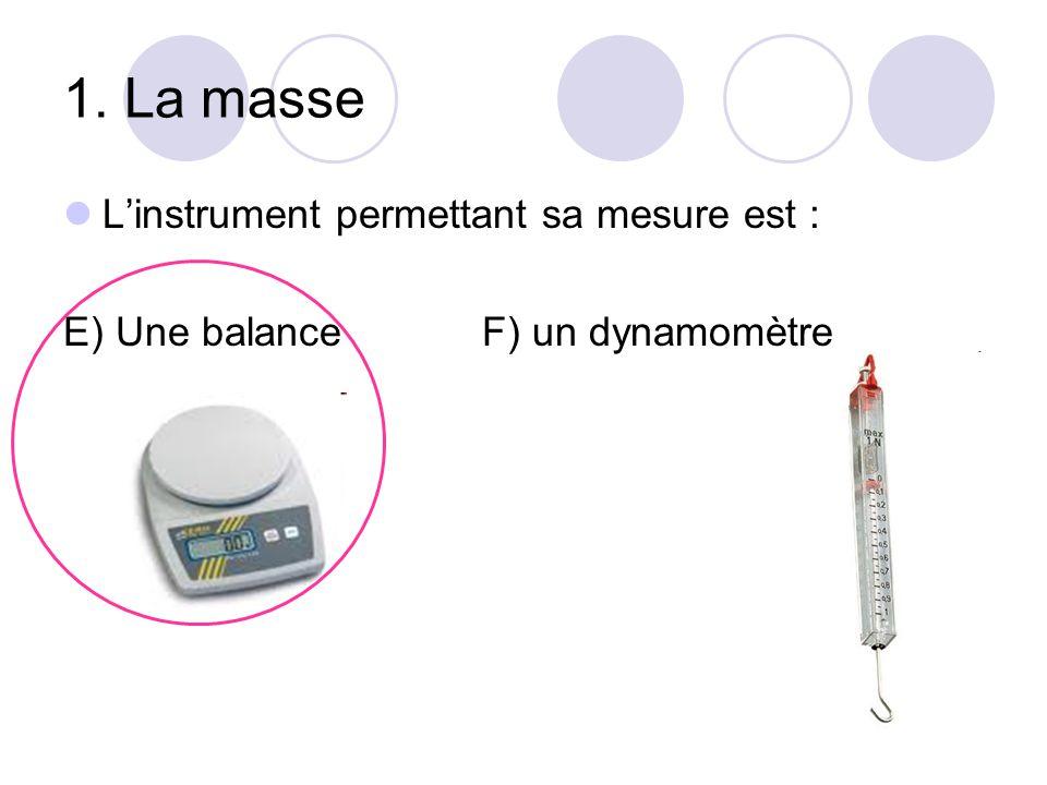 1. La masse L'instrument permettant sa mesure est : E) Une balanceF) un dynamomètre