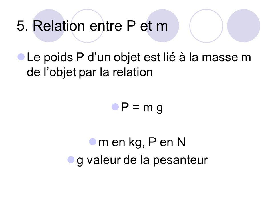 5. Relation entre P et m Le poids P d'un objet est lié à la masse m de l'objet par la relation P = m g m en kg, P en N g valeur de la pesanteur
