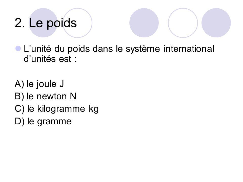 2. Le poids L'unité du poids dans le système international d'unités est : A) le joule J B) le newton N C) le kilogramme kg D) le gramme