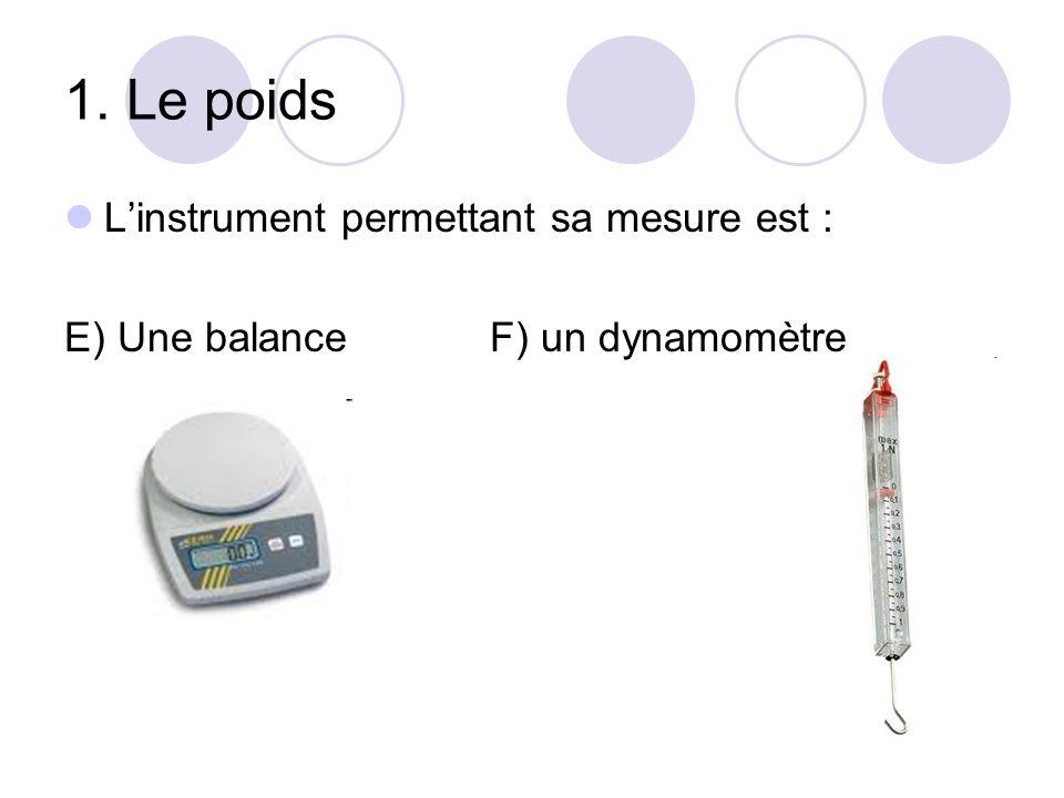 1. Le poids L'instrument permettant sa mesure est : E) Une balanceF) un dynamomètre