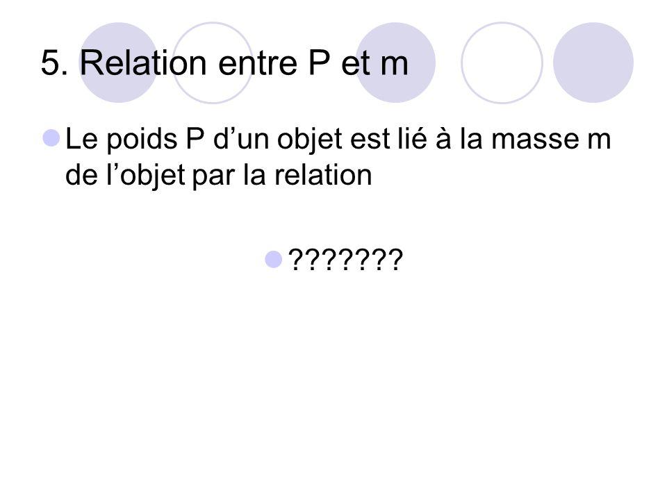 5. Relation entre P et m Le poids P d'un objet est lié à la masse m de l'objet par la relation ???????