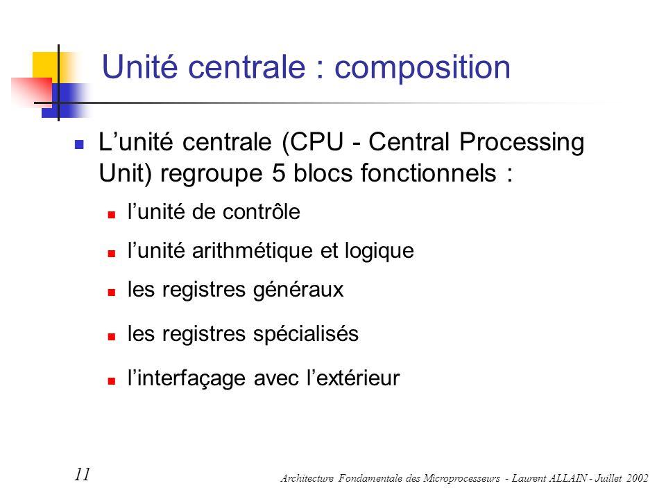 Architecture Fondamentale des Microprocesseurs - Laurent ALLAIN - Juillet 2002 11 Unité centrale : composition L'unité centrale (CPU - Central Process