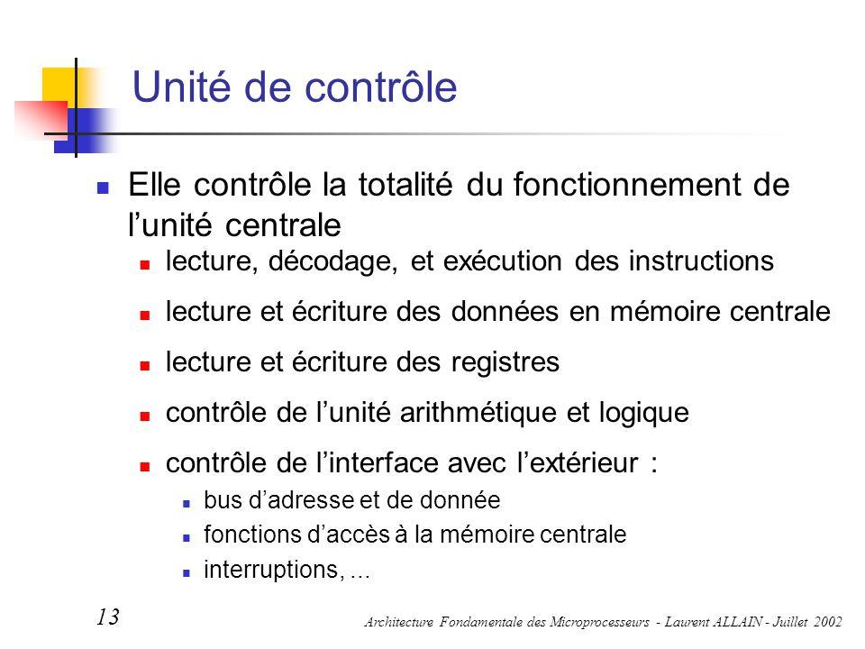 Architecture Fondamentale des Microprocesseurs - Laurent ALLAIN - Juillet 2002 13 Unité de contrôle Elle contrôle la totalité du fonctionnement de l'u