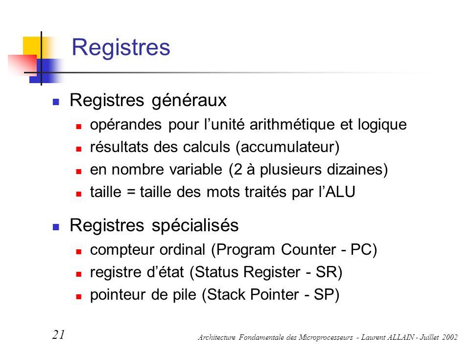 Architecture Fondamentale des Microprocesseurs - Laurent ALLAIN - Juillet 2002 21 Registres Registres généraux opérandes pour l'unité arithmétique et