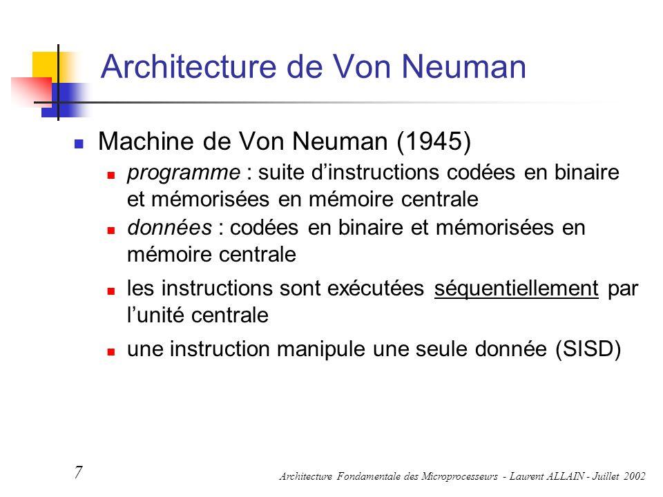 Architecture Fondamentale des Microprocesseurs - Laurent ALLAIN - Juillet 2002 7 Architecture de Von Neuman Machine de Von Neuman (1945) programme : s