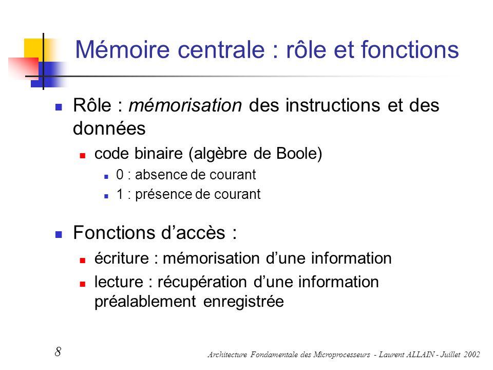 Architecture Fondamentale des Microprocesseurs - Laurent ALLAIN - Juillet 2002 8 Mémoire centrale : rôle et fonctions Rôle : mémorisation des instruct