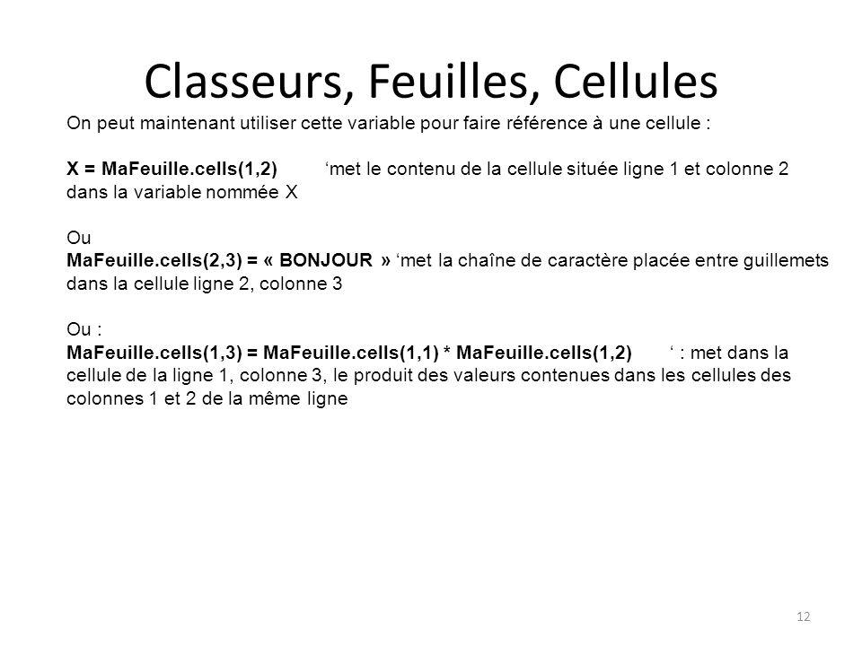 Classeurs, Feuilles, Cellules 12 On peut maintenant utiliser cette variable pour faire référence à une cellule : X = MaFeuille.cells(1,2)'met le conte