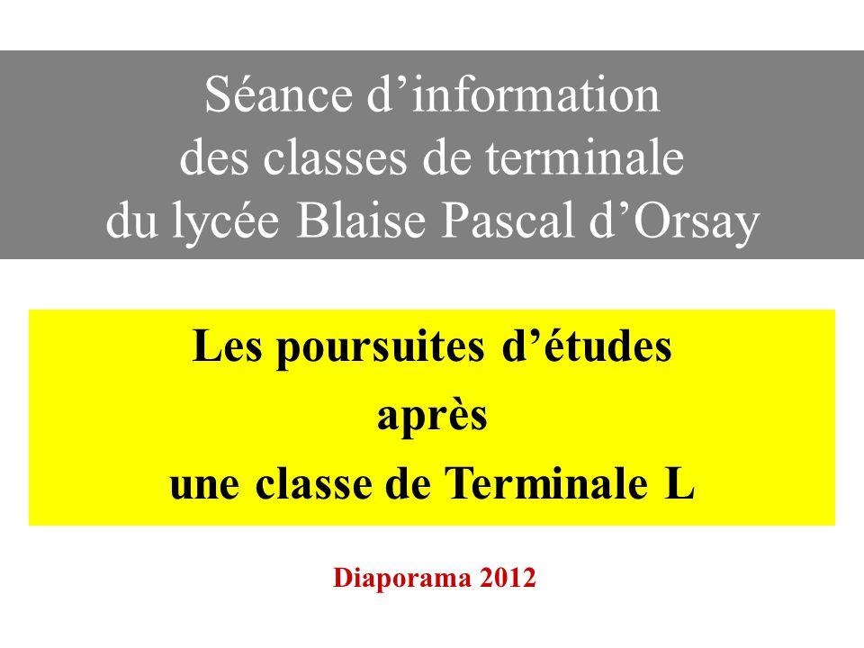 Séance d'information des classes de terminale du lycée Blaise Pascal d'Orsay Les poursuites d'études après une classe de Terminale L Diaporama 2012