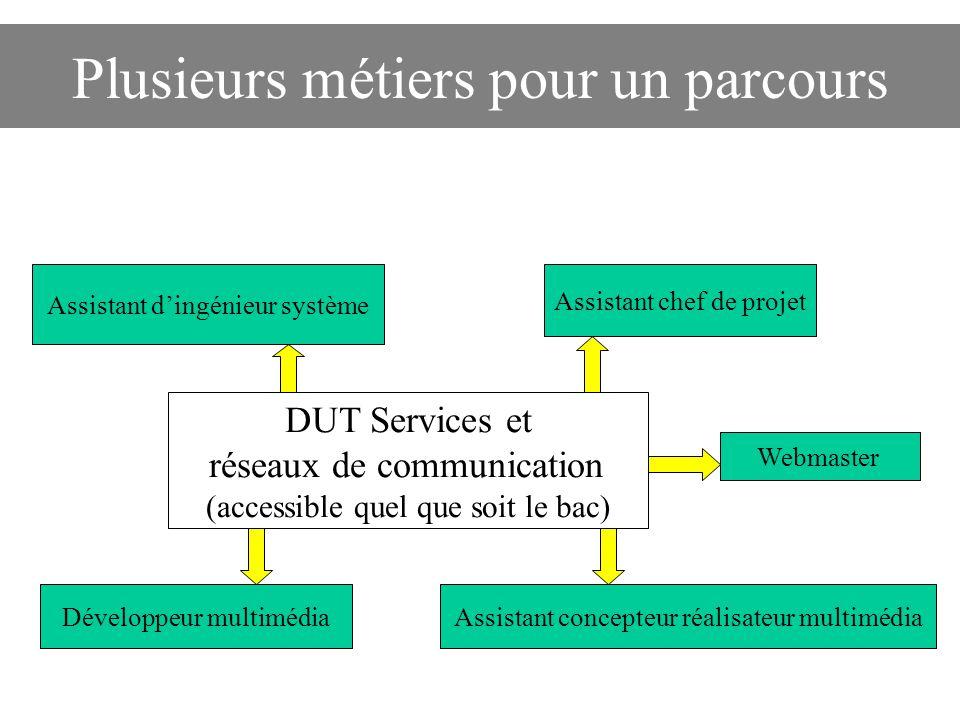 Plusieurs métiers pour un parcours DUT Services et réseaux de communication (accessible quel que soit le bac) Assistant d'ingénieur système Webmaster