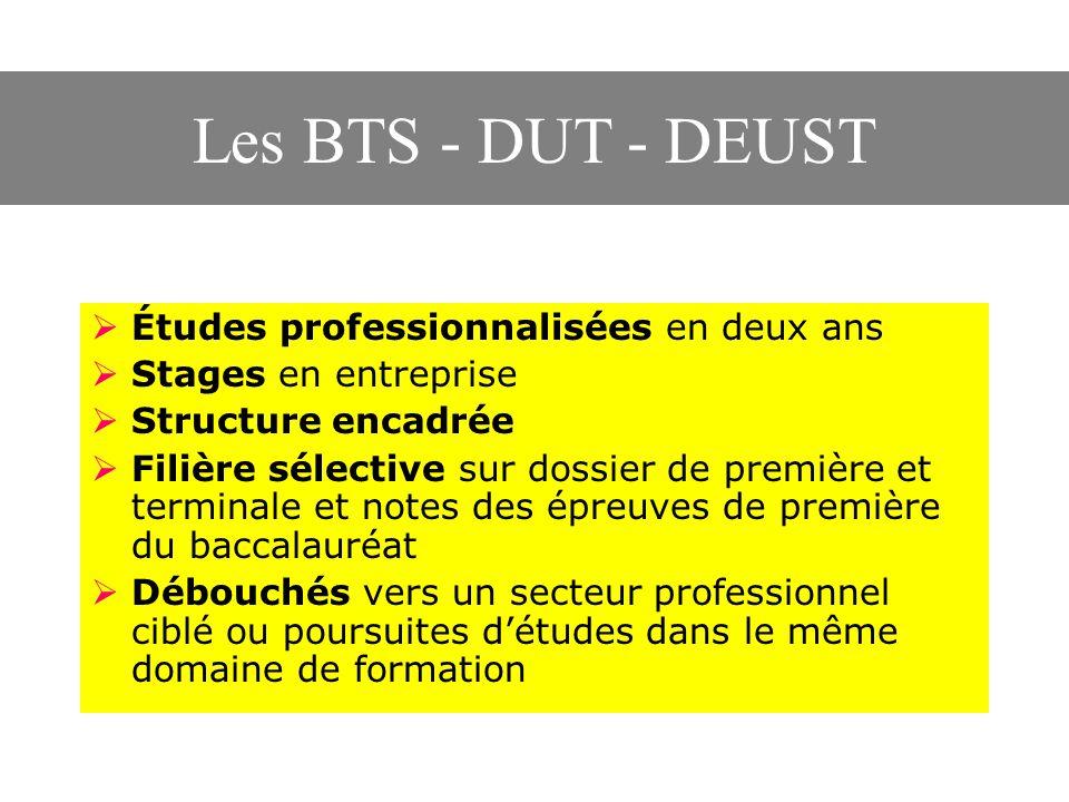 Les BTS - DUT - DEUST  Études professionnalisées en deux ans  Stages en entreprise  Structure encadrée  Filière sélective sur dossier de première